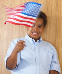 Child with US flag